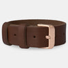 Chestnut Leather Strap - Matte Rose Gold Buckle