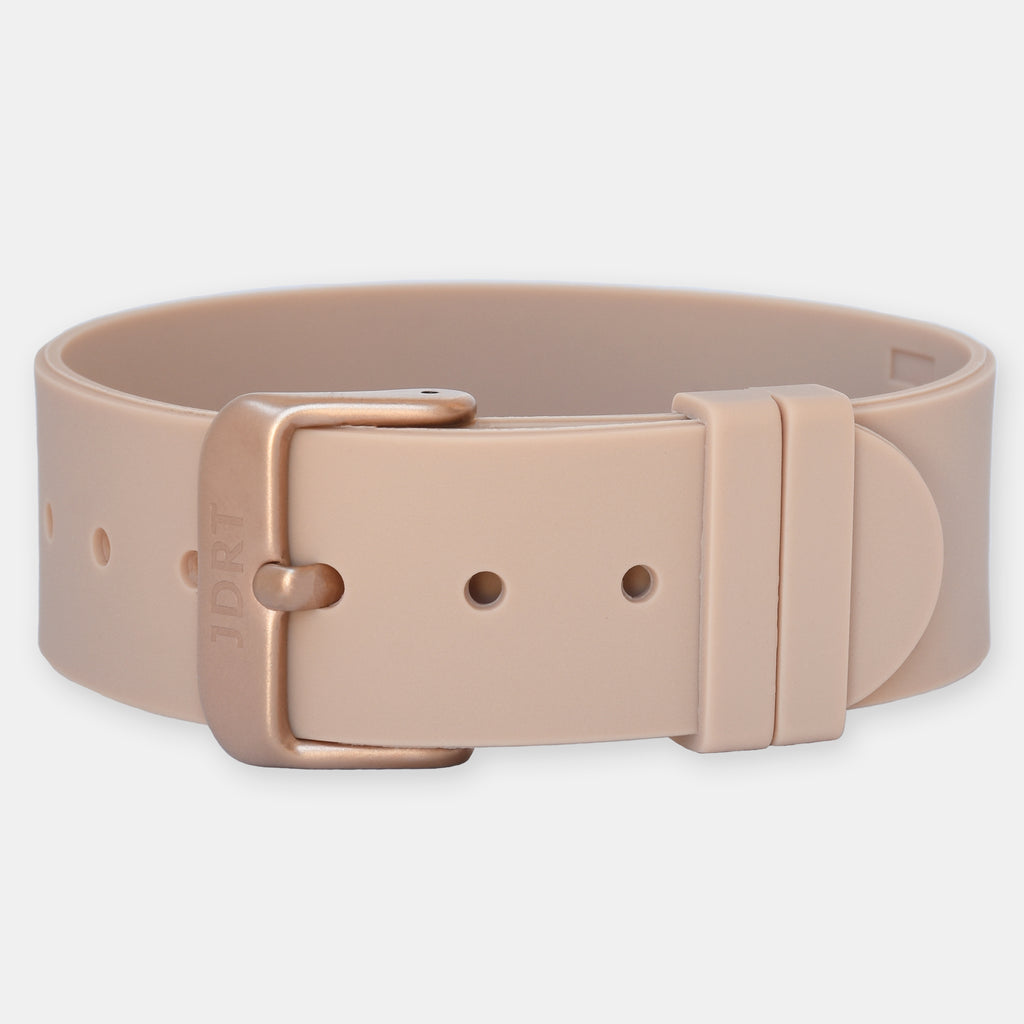 Tan Silicone Strap - Matte Rose Gold Buckle