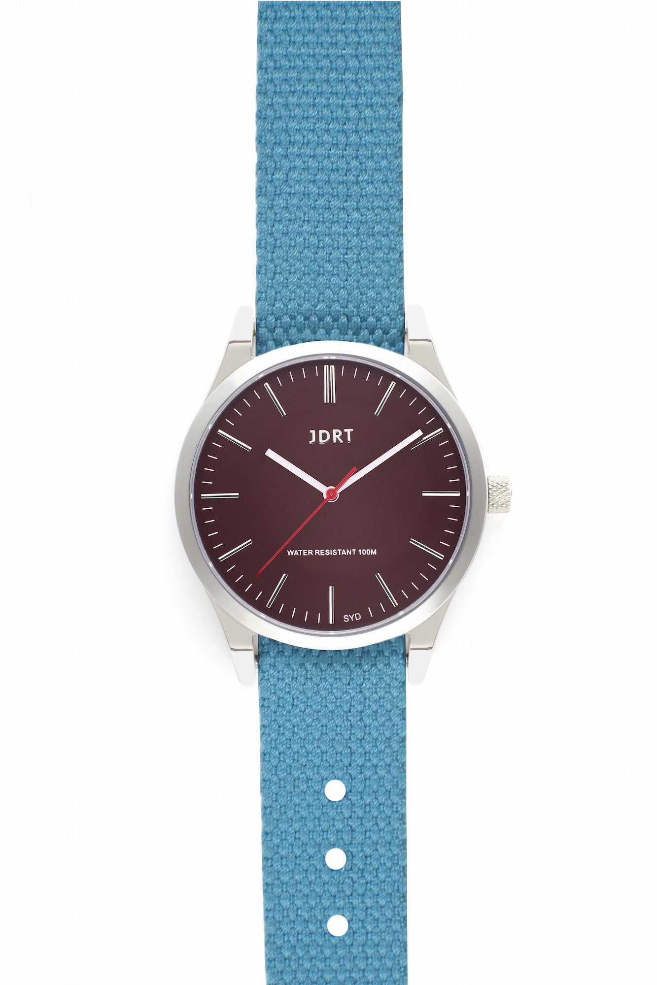 Oxblood Face with Caribbean Canvas Watch Band