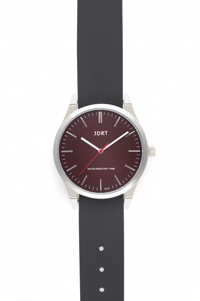 Oxblood Face with Slate Silicone Watch Band