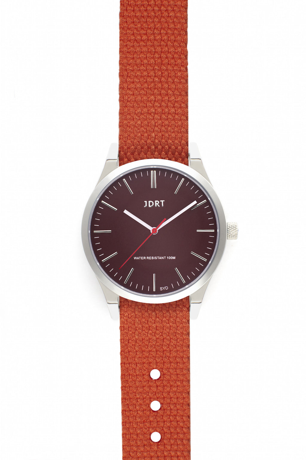 Oxblood Face with Mandarin Canvas Watch Band