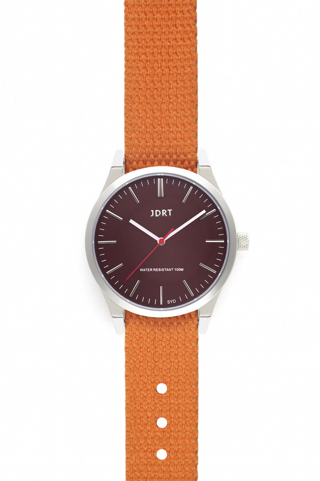 Oxblood Face with Hazard Canvas Watch Band