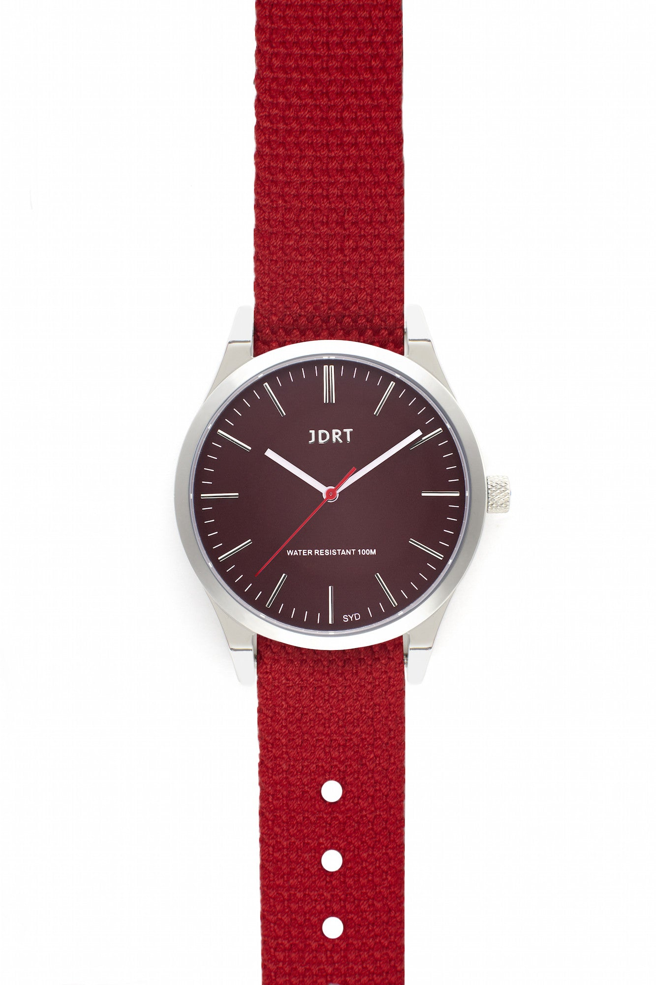 Oxblood Face with Chilli Canvas Watch Band