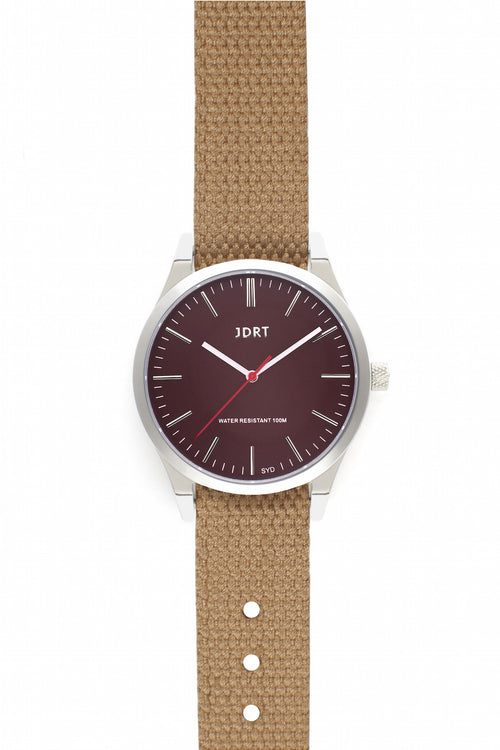 Oxblood Face with Sand Canvas Watch Band