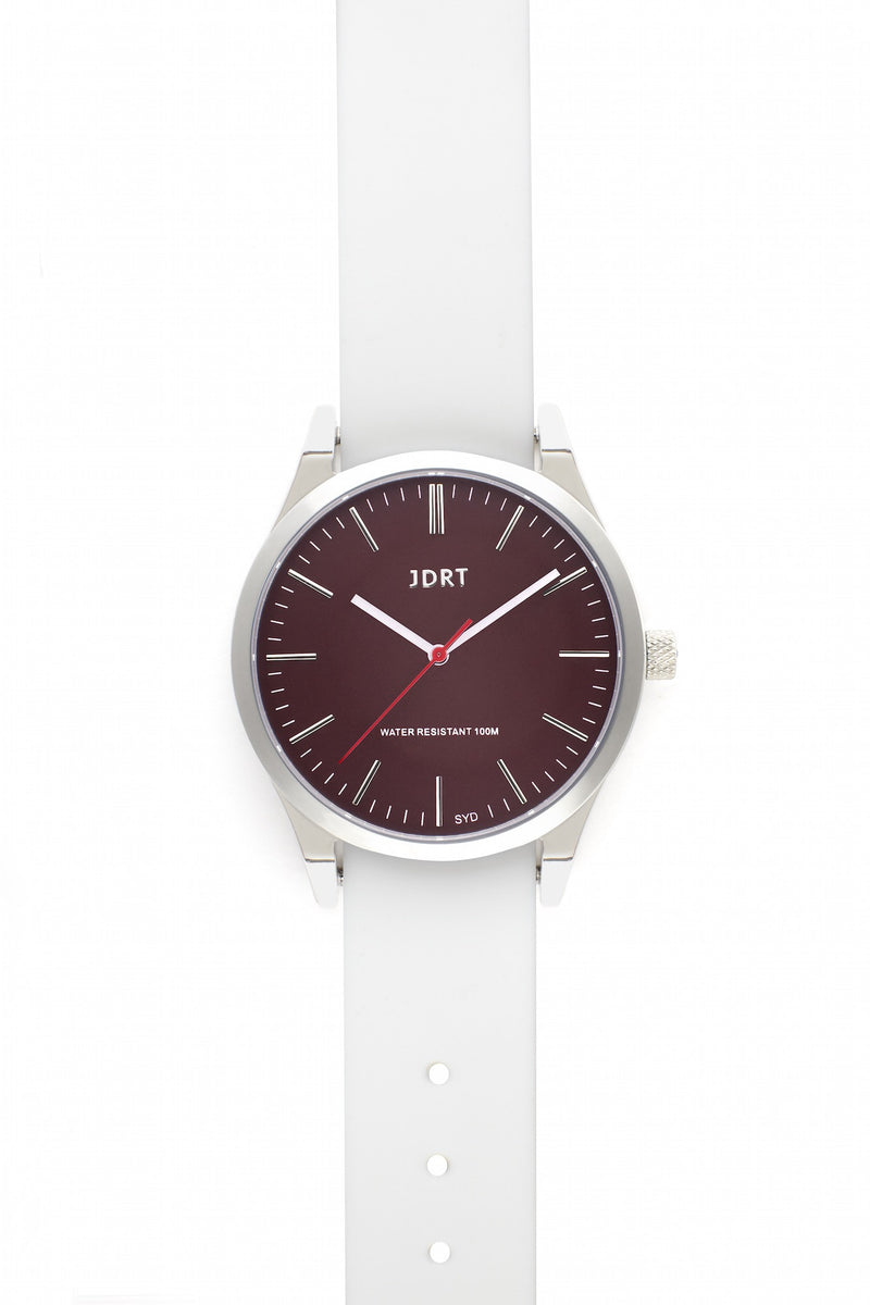 Oxblood Face with Antique White Silicone Watch Band