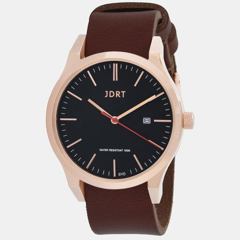 Matte Rose Gold / Chestnut Leather