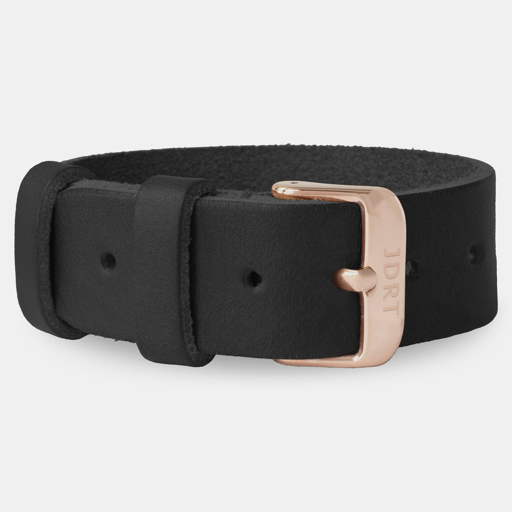 Black Leather Strap - Rose Gold Buckle