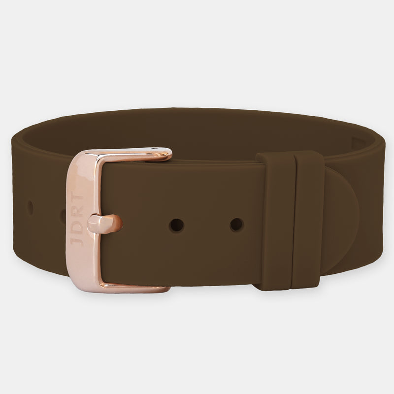 Brown Silicone Strap - Rose Gold Buckle