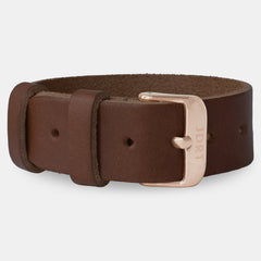 Chestnut Leather Strap - Rose Gold Buckle