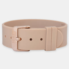 Tan Silicone Strap - Rose Gold Buckle