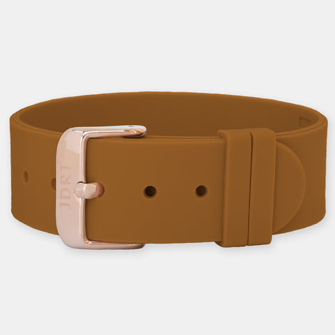 Tan Silicone Strap - Matte Black Buckle