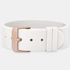 White Silicone Strap - Rose Gold Buckle