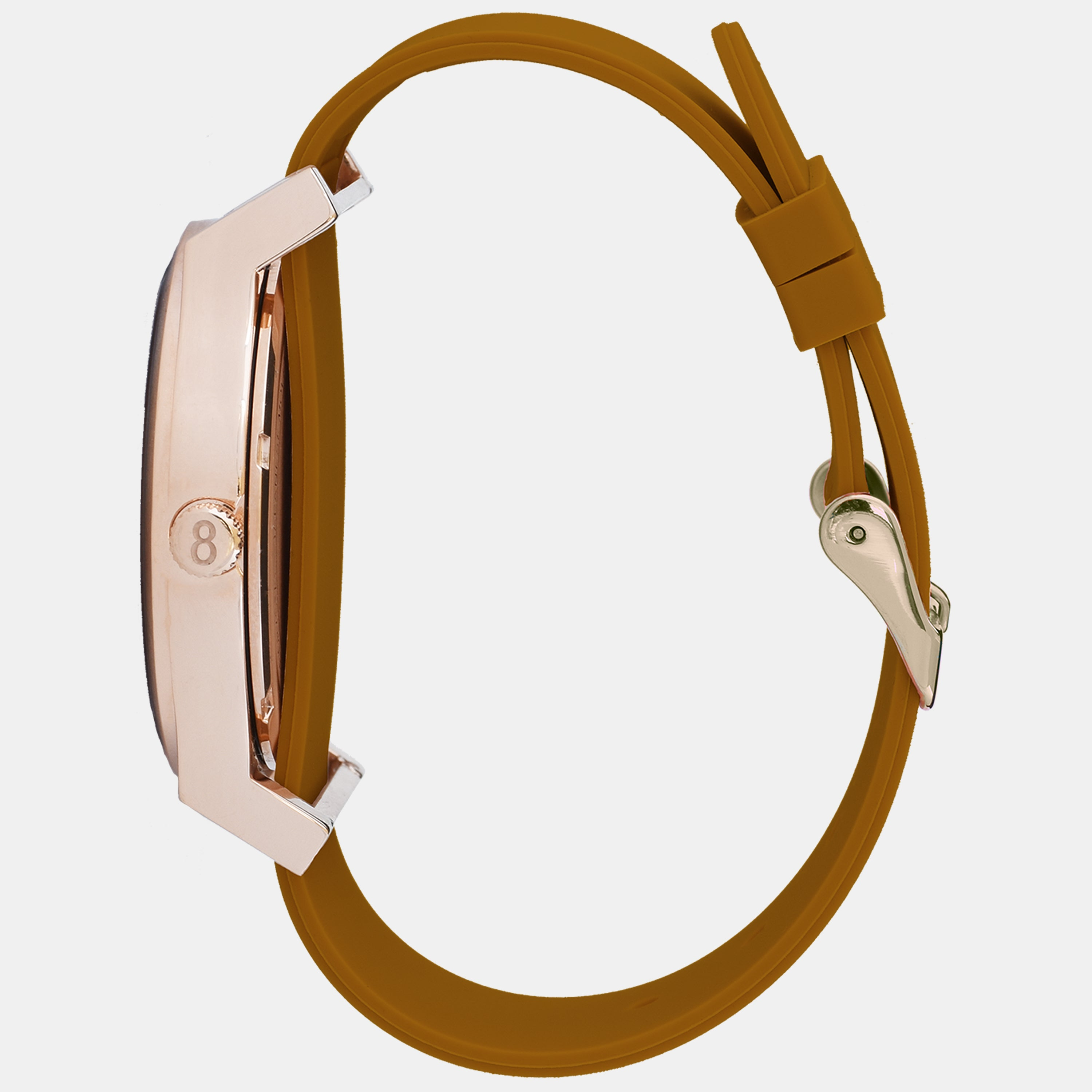 Rose Gold Watch with Brown Strap