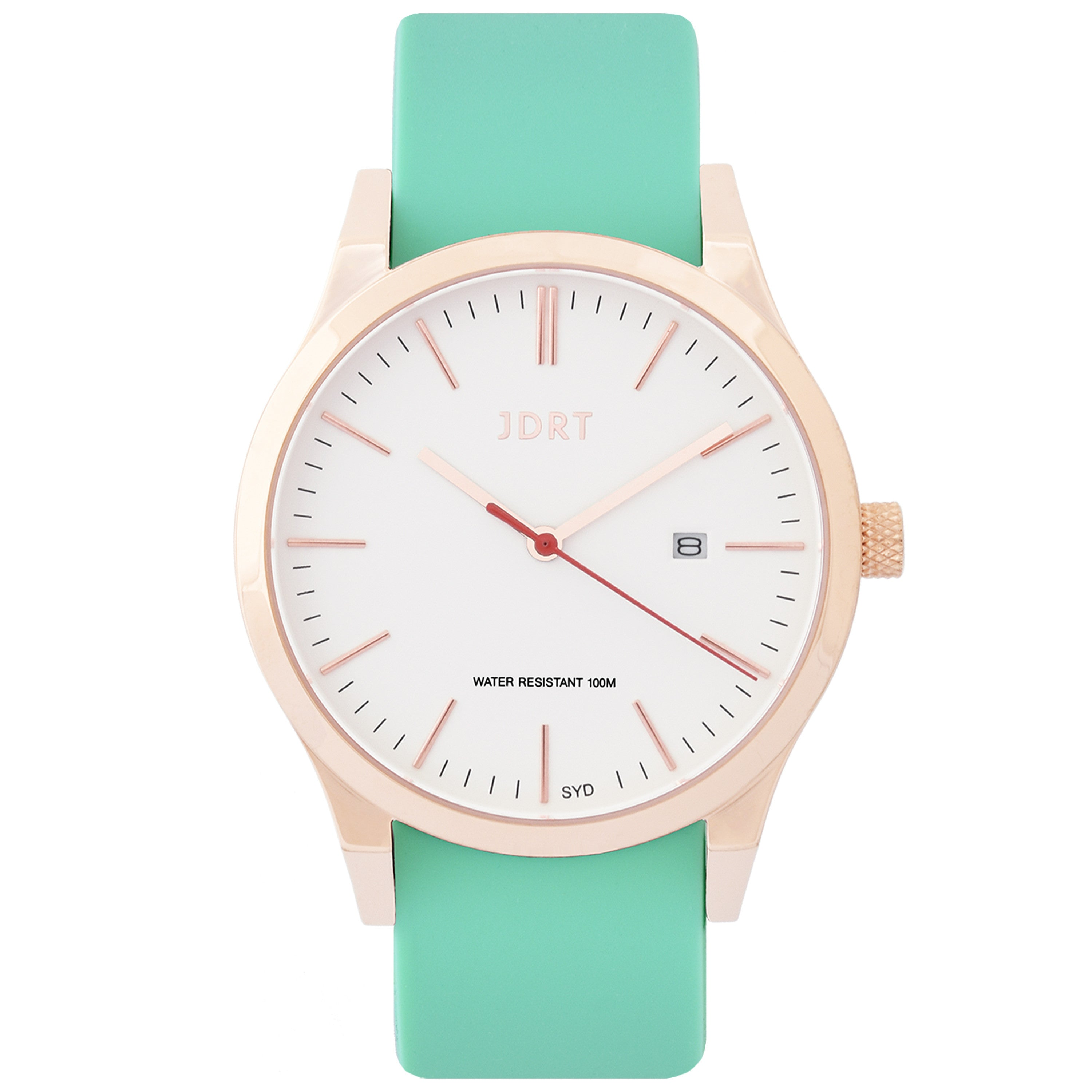 Rose Gold Watch with Green Strap
