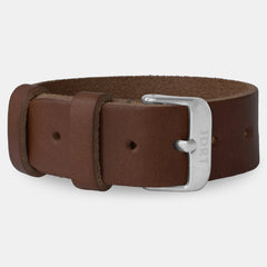 Chestnut Leather Strap - Silver Buckle