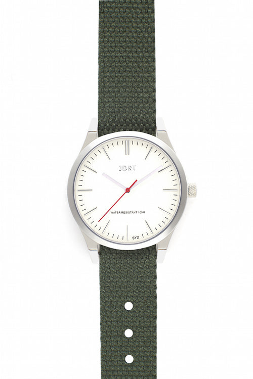 Antique White Face with Army Canvas Watch Band