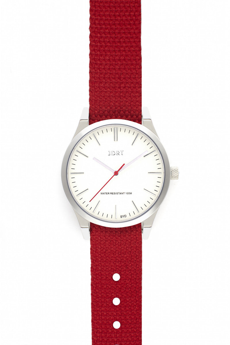 Antique White Face with Chilli Canvas Watch Band