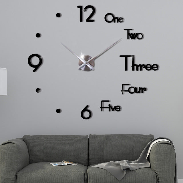 Silent frameless 3D DIY wall clock