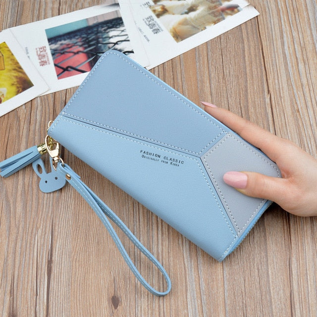 Geometric Luxury Brand Leather Wallets Women Long Zipper Coin Purses Tassel Design Clutch Wallet Female Money Credit Card Holder