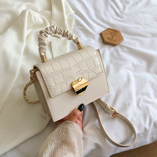 Stone Pattern Solid Color PU Leather Crossbody Bags For Women 2020 Summer Elegant Shoulder Handbags and Purses Mini Tote