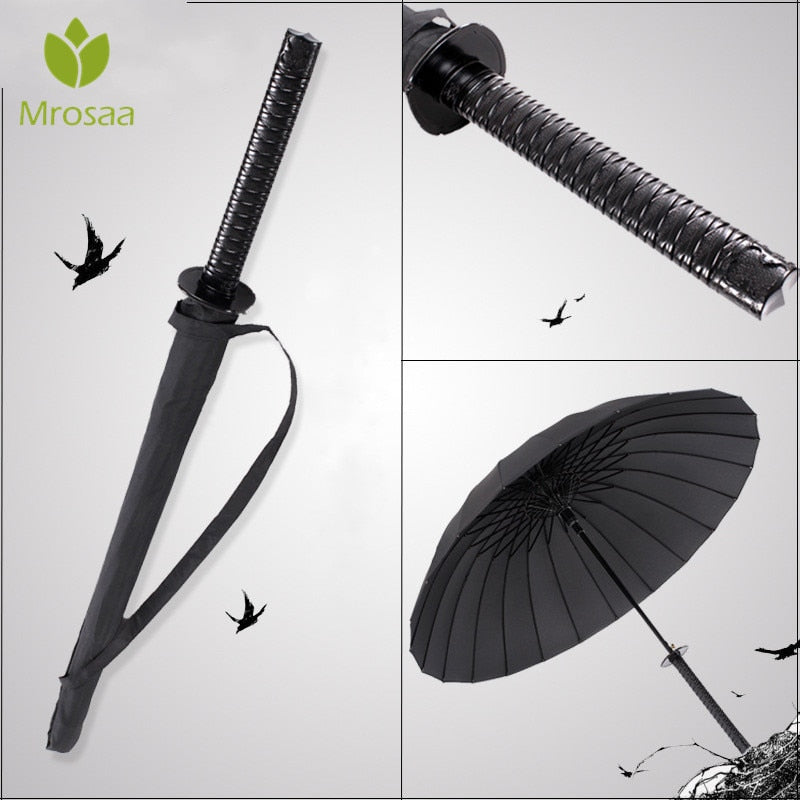 Stylish Black Japanese Samurai Ninja Sword Katana Umbrella Sun Rain Windproof Long-handle Umbrellas Semi-automatic 8,16,24 Ribs
