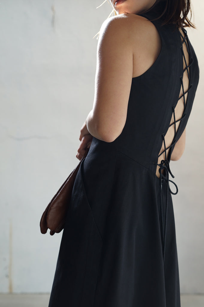 HERMES - Back Lace Up Dress