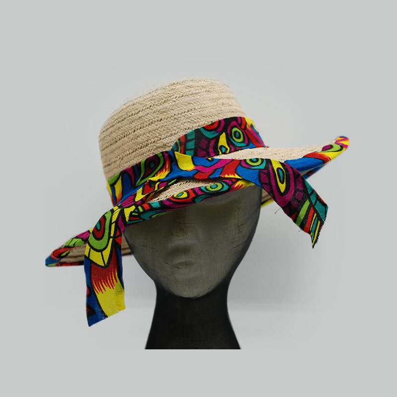 Panamanian Woven Straw Hat with Molas Trim
