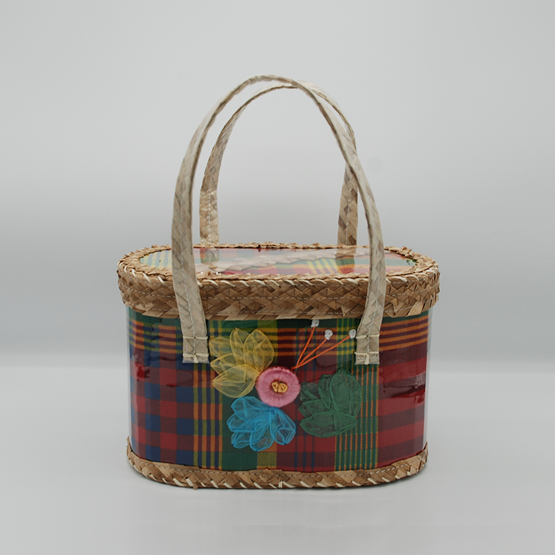 St. Lucian Madras and Straw Purse