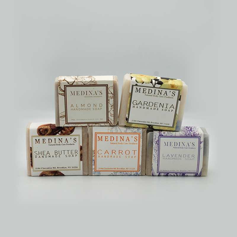 Natural handmade soaps (Set of 5); almond, gardenia, shea butter, carrot and lavender
