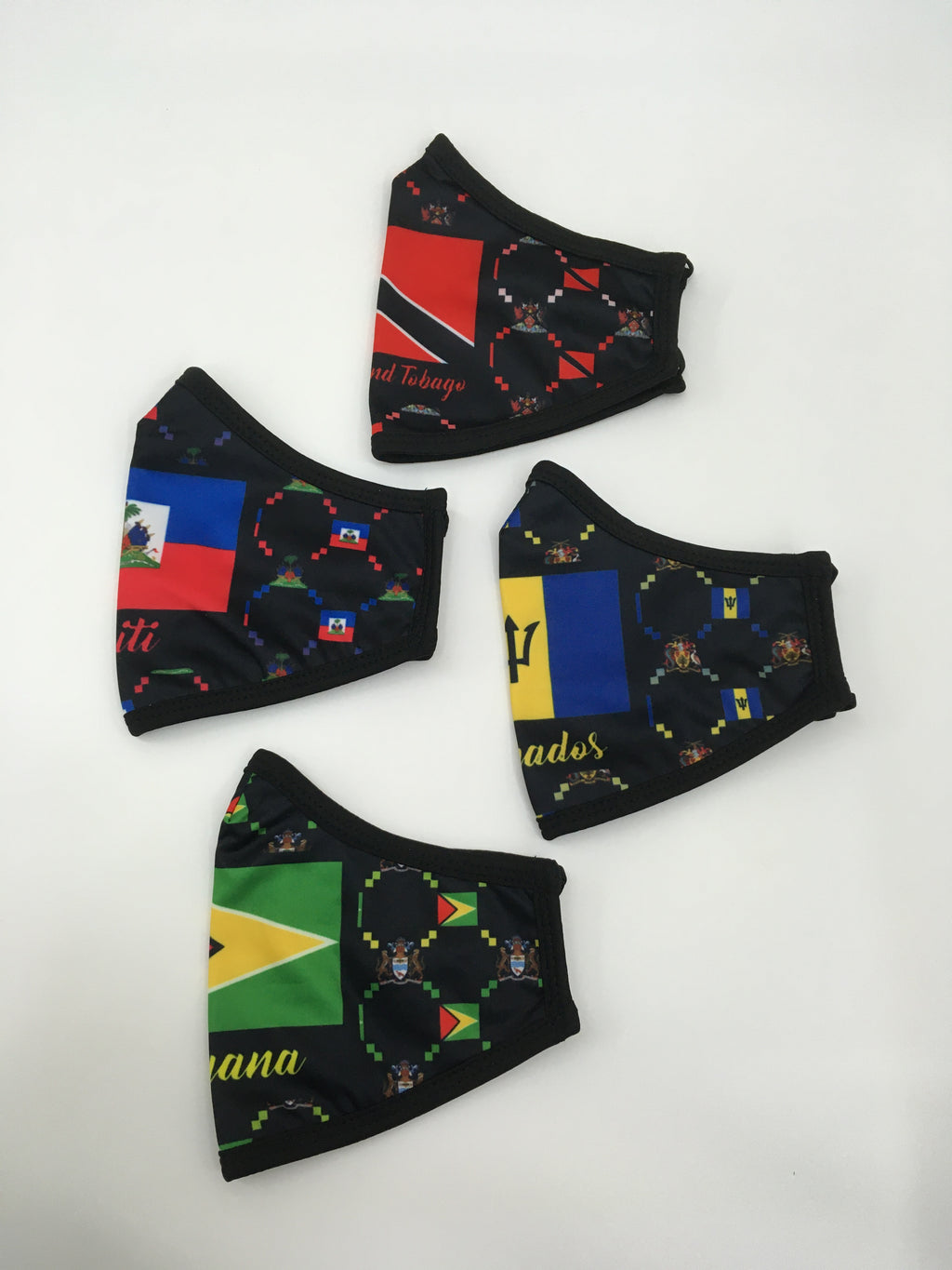 Stylish face masks with nation flags.