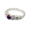 Silver Corally ring with 4mm Rose Faceted Gemstone