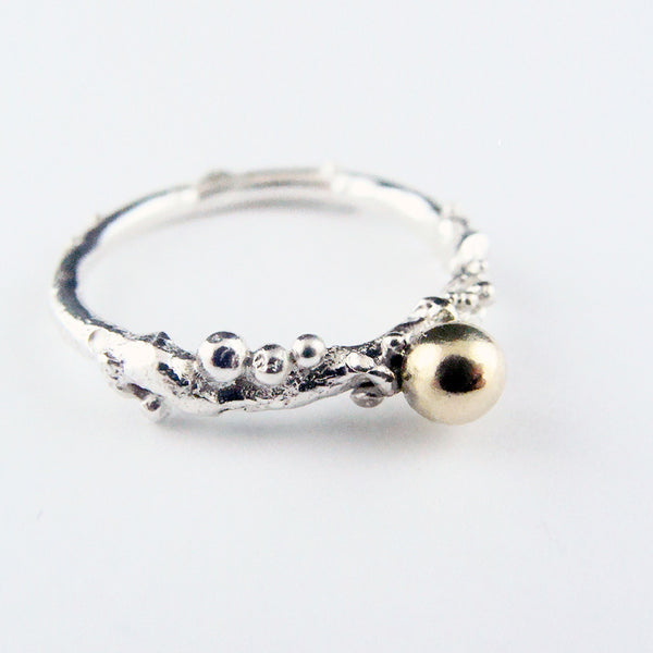 Golden Ball ring, Silver and 18ct. Gold