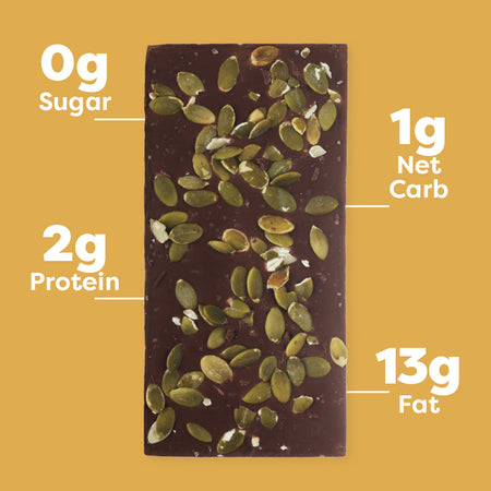 Pumpkin Seed and Sea Salt Keto Chocolate Bar