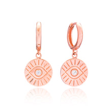 Load image into Gallery viewer, Rose gold evil eye earrings hoop sterling silver 925 dangle drop earrings