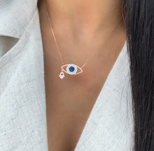 Load image into Gallery viewer, hamsa evil eye hand necklace rose gold sterling silver hand necklace with eye pendant
