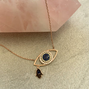hamsa evil eye hand necklace rose gold sterling silver hand necklace with eye pendant