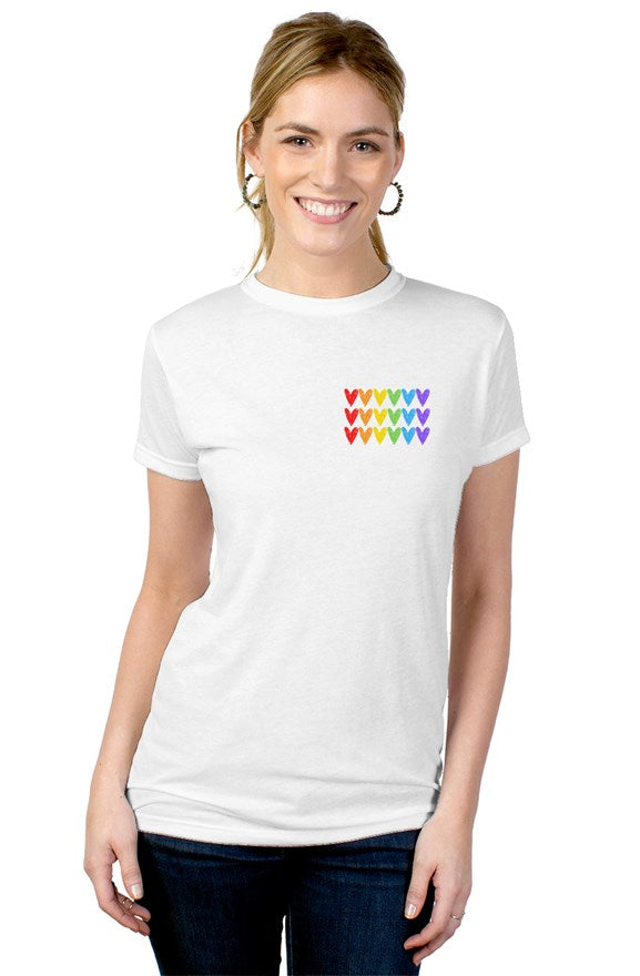tultex ladies blend tee - rainbow hearts