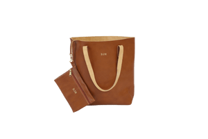 Everyday Tote - Blonde Leather Front Angle in Color 'Blonde Leather'
