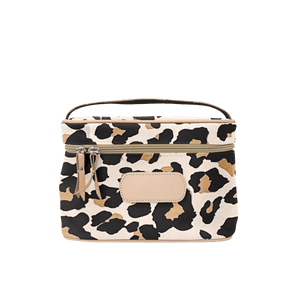 Makeup Case - Tan Coated Canvas Front Angle in Color 'Leopard Coated Canvas'