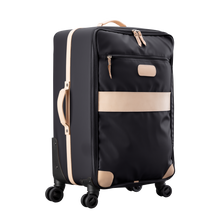 Load image into Gallery viewer, Large 360 wheeled luggage diagonal view in Color 'Black Coated Canvas'