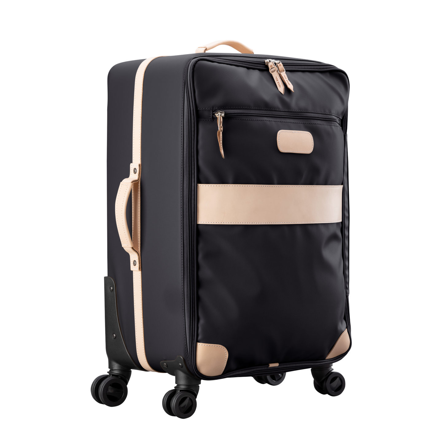 Large 360 wheeled luggage diagonal view in Color 'Black Coated Canvas'