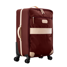 Load image into Gallery viewer, Large 360 wheeled luggage diagonal view in Color 'Burgundy Coated Canvas'
