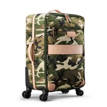 Load image into Gallery viewer, Large 360 wheeled luggage diagonal view in Color 'Classic Camo Coated Canvas'