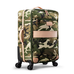 Large 360 wheeled luggage diagonal view in Color 'Classic Camo Coated Canvas'