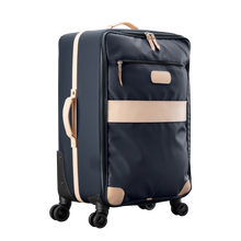 Load image into Gallery viewer, Large 360 wheeled luggage diagonal view in Color 'Charcoal Coated Canvas'