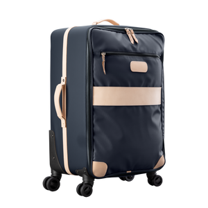 Large 360 wheeled luggage diagonal view in Color 'Charcoal Coated Canvas'