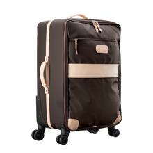 Load image into Gallery viewer, Large 360 wheeled luggage diagonal view in Color 'Espresso Coated Canvas'