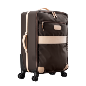 Large 360 wheeled luggage diagonal view in Color 'Espresso Coated Canvas'