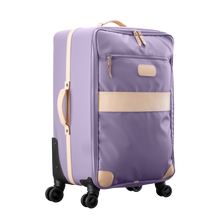 Load image into Gallery viewer, Large 360 wheeled luggage diagonal view in Color 'Lilac Coated Canvas'