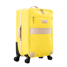Load image into Gallery viewer, Large 360 wheeled luggage diagonal view in Color 'Lemon Coated Canvas'